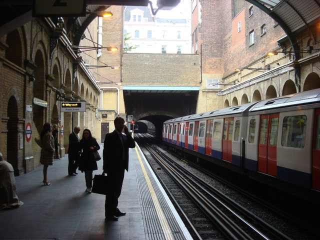 Circle and District Line platforms in London's Paddington tube station.