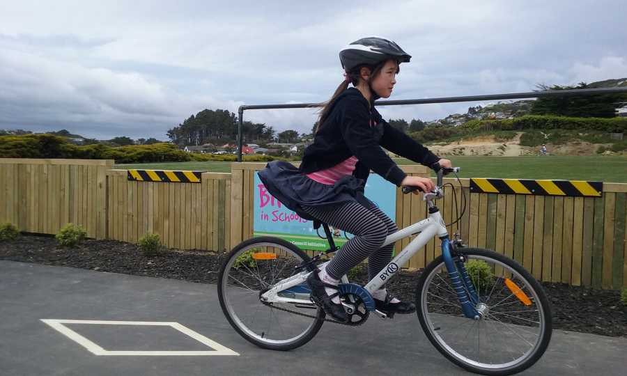A Johnsonville kid learning to ride a bike, thanks to Wellington City Council and Bikes In Schools.  Photo: bikesinschools.wordpress.com
