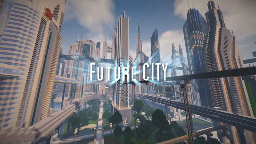 An image of a futuristic city, built in Minecraft.