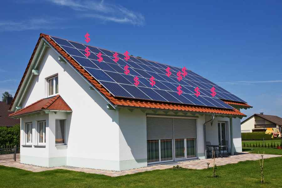 Graphic showing solar energy heating the roof of a house