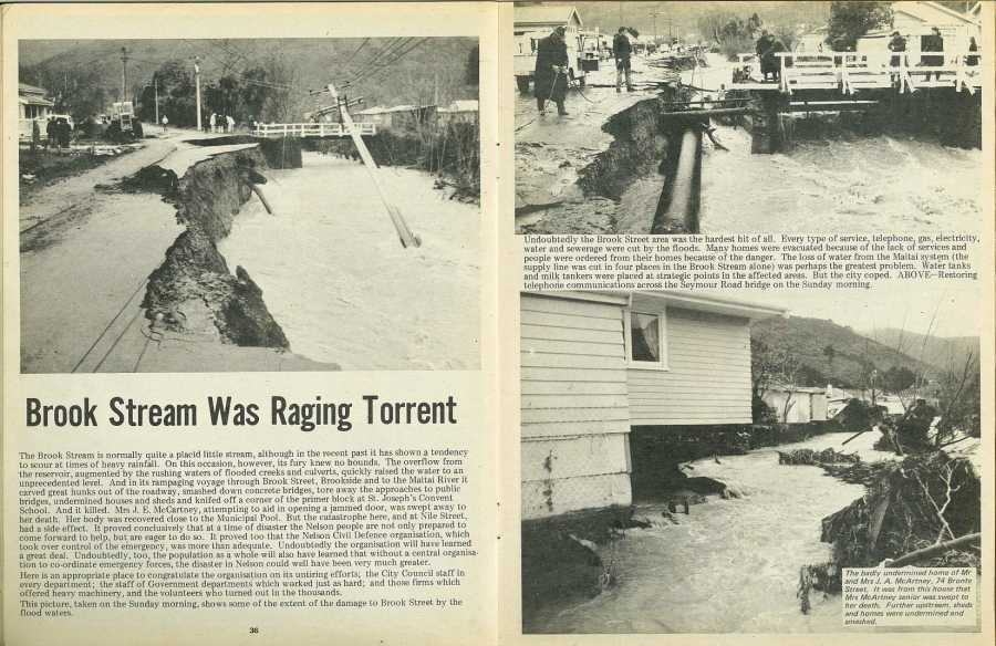 A photo from a Nelson, NZ newspaper showing damage form the flooding Brook stream to a road in 1970.