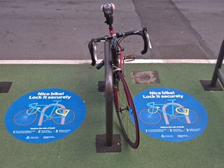 Wellington's recent anti-bike theft signs on the street.