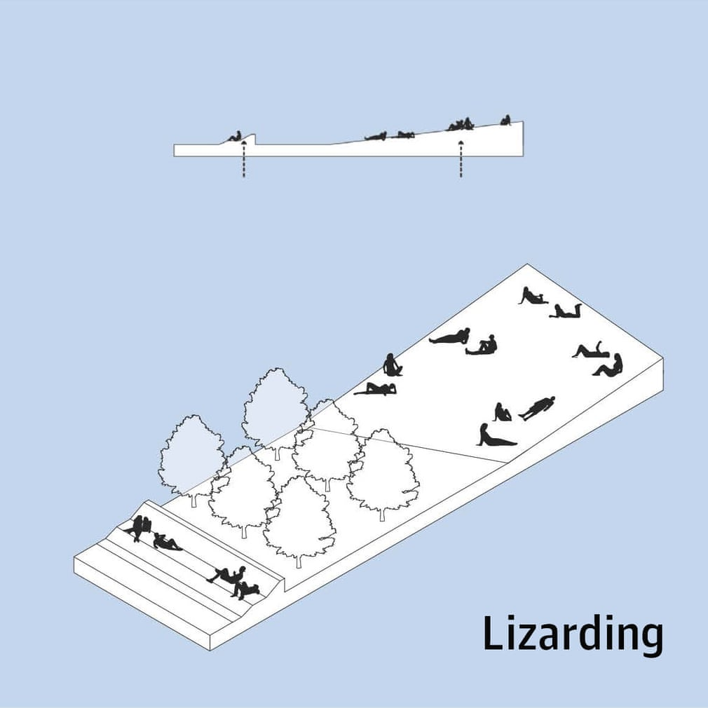 Diagram of people lounging around in various forms of supine poses, on a slope with trees at the bottom.  Looks like Parliament lawn on a sunny day